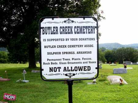 *BUTLER CREEK CEMETERY SIGN,  - Benton County, Arkansas |  *BUTLER CREEK CEMETERY SIGN - Arkansas Gravestone Photos