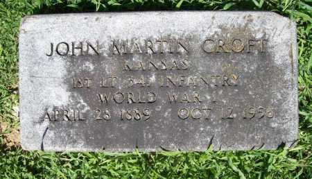 CROFT (VETERAN WWI), JOHN MARTIN - Benton County, Arkansas | JOHN MARTIN CROFT (VETERAN WWI) - Arkansas Gravestone Photos