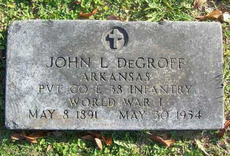 DEGROFF (VETERAN WWI), JOHN LESTER - Benton County, Arkansas | JOHN LESTER DEGROFF (VETERAN WWI) - Arkansas Gravestone Photos