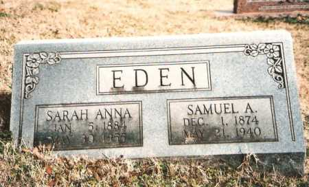 EDEN, SAMUEL A. - Benton County, Arkansas | SAMUEL A. EDEN - Arkansas Gravestone Photos