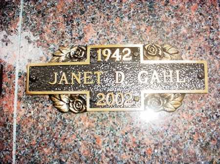 GAHL, JANET D. - Benton County, Arkansas | JANET D. GAHL - Arkansas Gravestone Photos