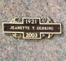 GEHRING, JEANETTE T. - Benton County, Arkansas | JEANETTE T. GEHRING - Arkansas Gravestone Photos