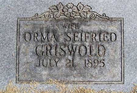 GRISWOLD, ORMA M. (CLOSEUP) - Benton County, Arkansas | ORMA M. (CLOSEUP) GRISWOLD - Arkansas Gravestone Photos