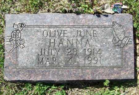 HANNA, OLIVE JUNE - Benton County, Arkansas | OLIVE JUNE HANNA - Arkansas Gravestone Photos