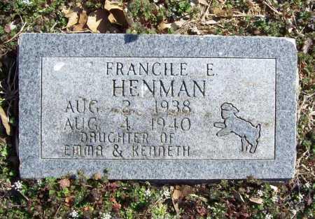 HENMAN, FRANCILE EARLENE - Benton County, Arkansas | FRANCILE EARLENE HENMAN - Arkansas Gravestone Photos