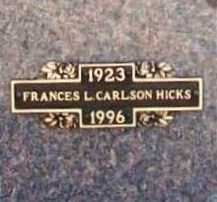 CARLSON HICKS, FRANCES L. - Benton County, Arkansas | FRANCES L. CARLSON HICKS - Arkansas Gravestone Photos