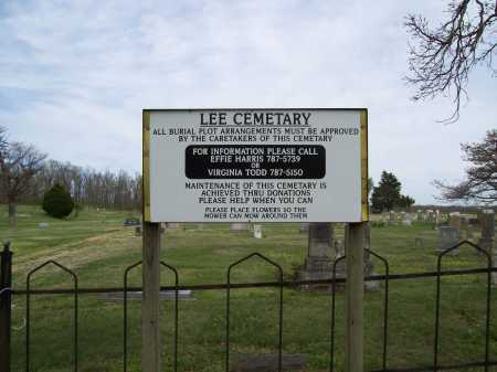*LEE CEMETERY SIGN,  - Benton County, Arkansas |  *LEE CEMETERY SIGN - Arkansas Gravestone Photos
