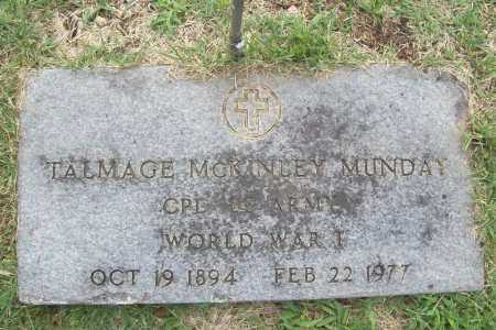 MUNDAY (VETERAN WWI), TALMAGE MCKINLEY - Benton County, Arkansas | TALMAGE MCKINLEY MUNDAY (VETERAN WWI) - Arkansas Gravestone Photos
