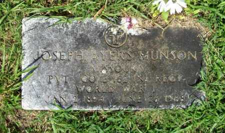 MUNSON (VETERAN WWI), JOSEPH AYERS - Benton County, Arkansas | JOSEPH AYERS MUNSON (VETERAN WWI) - Arkansas Gravestone Photos