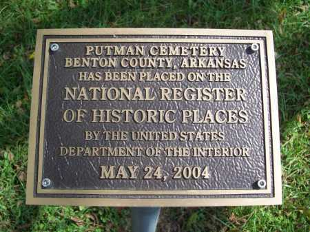*PUTMAN CEMETERY NAT. REG.,  - Benton County, Arkansas |  *PUTMAN CEMETERY NAT. REG. - Arkansas Gravestone Photos