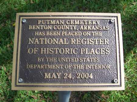 *PUTMAN CEMETERY NAT. REG.,  - Benton County, Arkansas |  *PUTMAN CEMETERY NAT. REG. - Arkansas Gravestone Photos