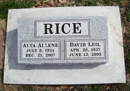 RICE, DAVID LEIL - Benton County, Arkansas | DAVID LEIL RICE - Arkansas Gravestone Photos