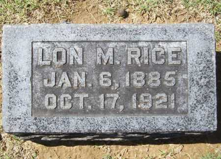 RICE, LON M. - Benton County, Arkansas | LON M. RICE - Arkansas Gravestone Photos