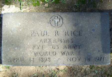 RICE (VETERAN WWI), PAUL R. - Benton County, Arkansas | PAUL R. RICE (VETERAN WWI) - Arkansas Gravestone Photos