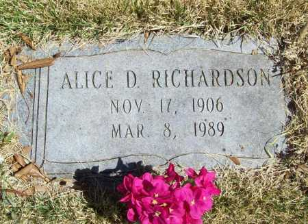 RICHARDSON, ALICE D. - Benton County, Arkansas | ALICE D. RICHARDSON - Arkansas Gravestone Photos