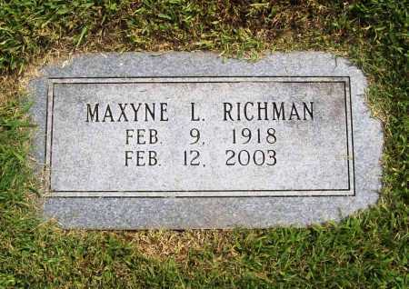 RICHMAN, MAXYNE L. - Benton County, Arkansas | MAXYNE L. RICHMAN - Arkansas Gravestone Photos