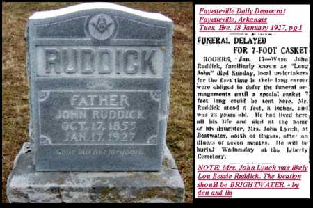 "RUDDICK, JOHN ""LONG JOHN"" - Benton County, Arkansas 