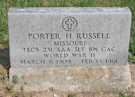 RUSSELL (VETERAN WWII), PORTER H. - Benton County, Arkansas | PORTER H. RUSSELL (VETERAN WWII) - Arkansas Gravestone Photos