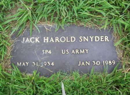 SNYDER (VETERAN), JACK HAROLD - Benton County, Arkansas | JACK HAROLD SNYDER (VETERAN) - Arkansas Gravestone Photos