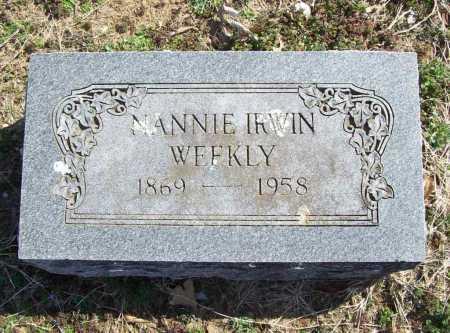 IRWIN WEEKLY, NANNIE - Benton County, Arkansas | NANNIE IRWIN WEEKLY - Arkansas Gravestone Photos