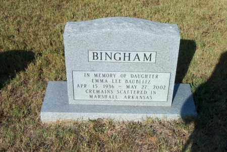 BAUBLITZ BINGHAM, EMMA LEE - Boone County, Arkansas | EMMA LEE BAUBLITZ BINGHAM - Arkansas Gravestone Photos
