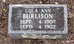 BURLISON, COLA ANN - Boone County, Arkansas | COLA ANN BURLISON - Arkansas Gravestone Photos