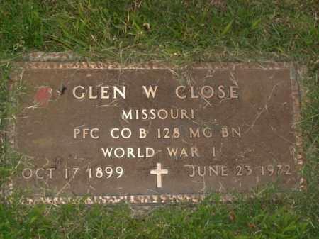 CLOSE  (VETERAN WWI), GLEN W. - Boone County, Arkansas | GLEN W. CLOSE  (VETERAN WWI) - Arkansas Gravestone Photos