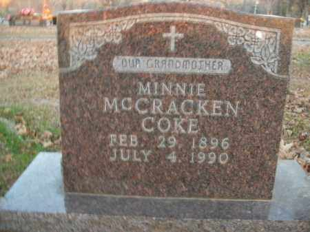 MCCRACKEN COKE, MINNIE - Boone County, Arkansas | MINNIE MCCRACKEN COKE - Arkansas Gravestone Photos
