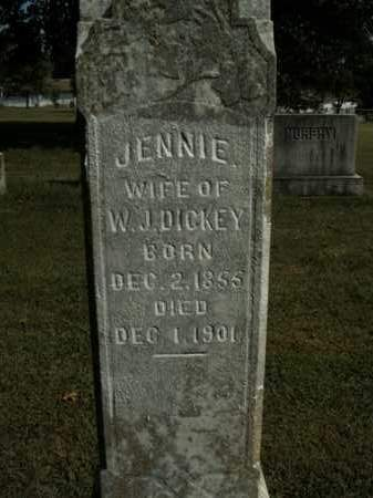DICKEY, JENNIE - Boone County, Arkansas | JENNIE DICKEY - Arkansas Gravestone Photos