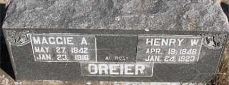 DREIER, HENRY  W. - Boone County, Arkansas | HENRY  W. DREIER - Arkansas Gravestone Photos