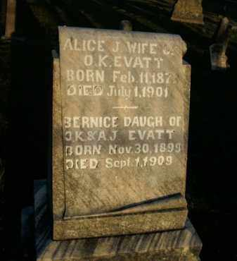 EVATT, ALICE J. - Boone County, Arkansas | ALICE J. EVATT - Arkansas Gravestone Photos