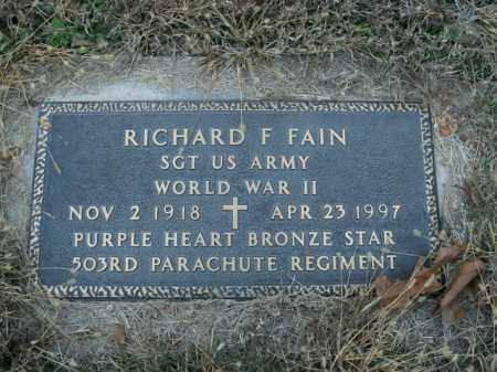 FAIN  (VETERAN WWII), RICHARD F. - Boone County, Arkansas | RICHARD F. FAIN  (VETERAN WWII) - Arkansas Gravestone Photos