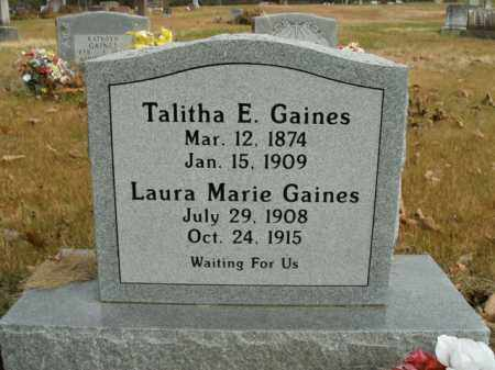 GAINES, TALITHA E. - Boone County, Arkansas | TALITHA E. GAINES - Arkansas Gravestone Photos
