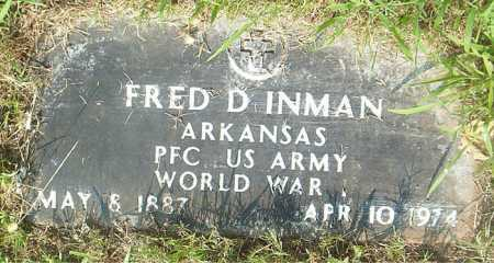 INMAN  (VETERAN WWI), FRED D - Boone County, Arkansas | FRED D INMAN  (VETERAN WWI) - Arkansas Gravestone Photos