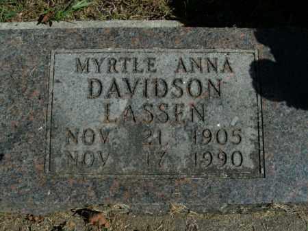 DAVIDSON LASSEN, MYRTLE ANNA - Boone County, Arkansas | MYRTLE ANNA DAVIDSON LASSEN - Arkansas Gravestone Photos