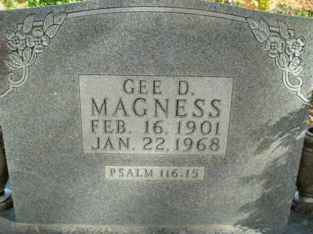 MAGNESS, GEE D. - Boone County, Arkansas | GEE D. MAGNESS - Arkansas Gravestone Photos