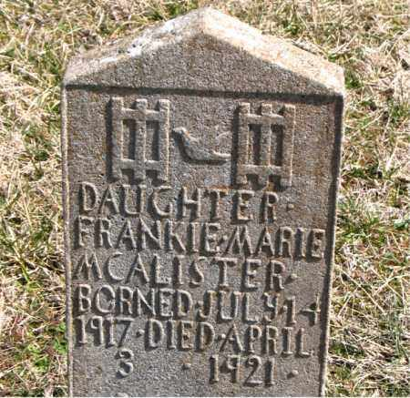 MCALISTER, FRANKIE MARIE - Boone County, Arkansas | FRANKIE MARIE MCALISTER - Arkansas Gravestone Photos