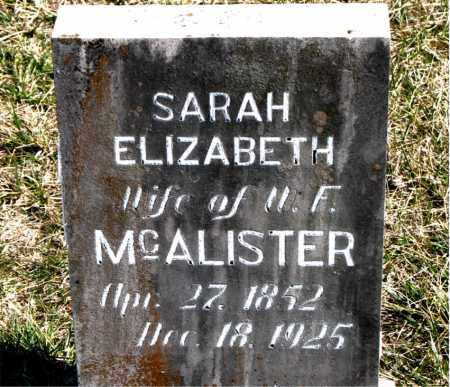 MCALISTER, SARAH ELIZABETH - Boone County, Arkansas | SARAH ELIZABETH MCALISTER - Arkansas Gravestone Photos