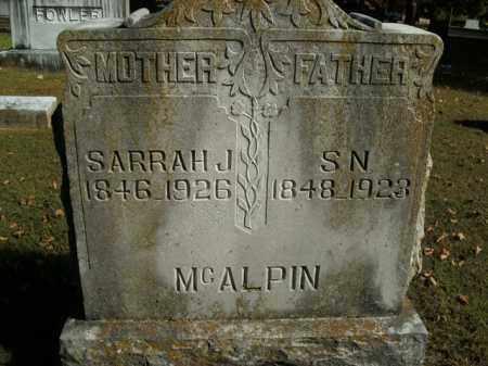 MCALPIN, SAMUEL N. - Boone County, Arkansas | SAMUEL N. MCALPIN - Arkansas Gravestone Photos
