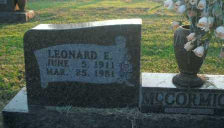 MCCORMICK, LEONARD E. - Boone County, Arkansas | LEONARD E. MCCORMICK - Arkansas Gravestone Photos