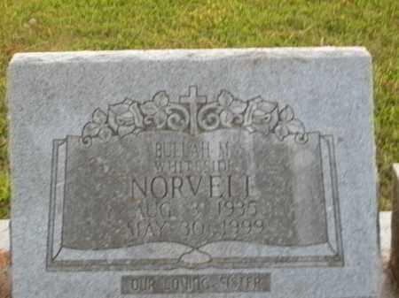 WHITESIDE NORVELL, BUELAH M. - Boone County, Arkansas | BUELAH M. WHITESIDE NORVELL - Arkansas Gravestone Photos