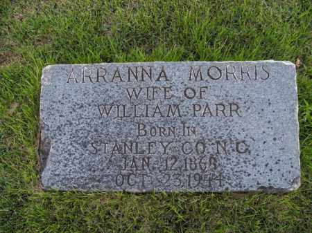 MORRIS PARR, ARRANNA - Boone County, Arkansas | ARRANNA MORRIS PARR - Arkansas Gravestone Photos