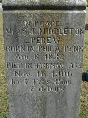 MIDDLETON PEREW, SARAH J. - Boone County, Arkansas | SARAH J. MIDDLETON PEREW - Arkansas Gravestone Photos