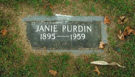 PURDIN, JANIE - Boone County, Arkansas | JANIE PURDIN - Arkansas Gravestone Photos