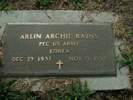 RAINS  (VETERAN KOR), ARLIN ARCHIE - Boone County, Arkansas | ARLIN ARCHIE RAINS  (VETERAN KOR) - Arkansas Gravestone Photos