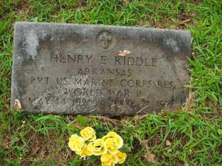 RIDDLE  (VETERAN WWII), HENRY E. - Boone County, Arkansas | HENRY E. RIDDLE  (VETERAN WWII) - Arkansas Gravestone Photos