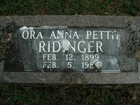 RIDINGER, ORA ANNA - Boone County, Arkansas | ORA ANNA RIDINGER - Arkansas Gravestone Photos