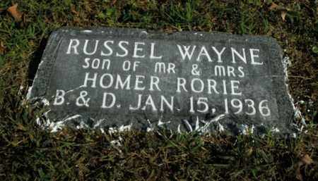 RORIE, RUSSEL WAYNE - Boone County, Arkansas | RUSSEL WAYNE RORIE - Arkansas Gravestone Photos