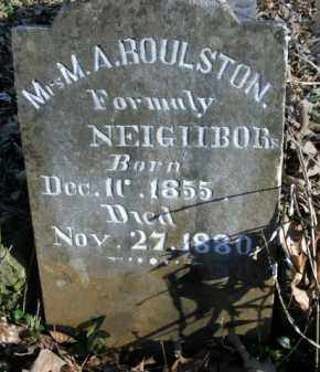 ROULSTON, M.A. - Boone County, Arkansas | M.A. ROULSTON - Arkansas Gravestone Photos