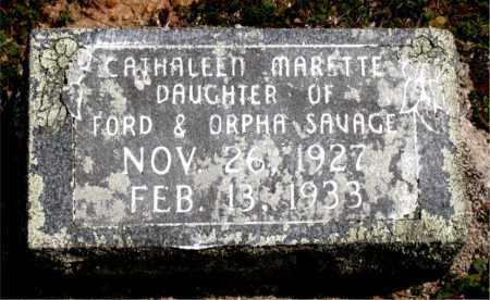 SAVAGE, CATHALEEN  MARETTE - Boone County, Arkansas | CATHALEEN  MARETTE SAVAGE - Arkansas Gravestone Photos